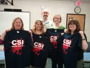 Me and fellow writer graduates from the CSI Civilian Course with Det. Joe Lobo. (Susannah Hardy, Me, Megan Ryder, Rhonda Lane)